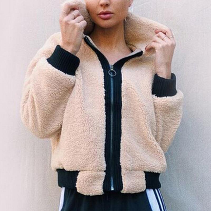 Women Warm Fleece Jacket Coat Turtleneck Fluffy Coat Faux ...