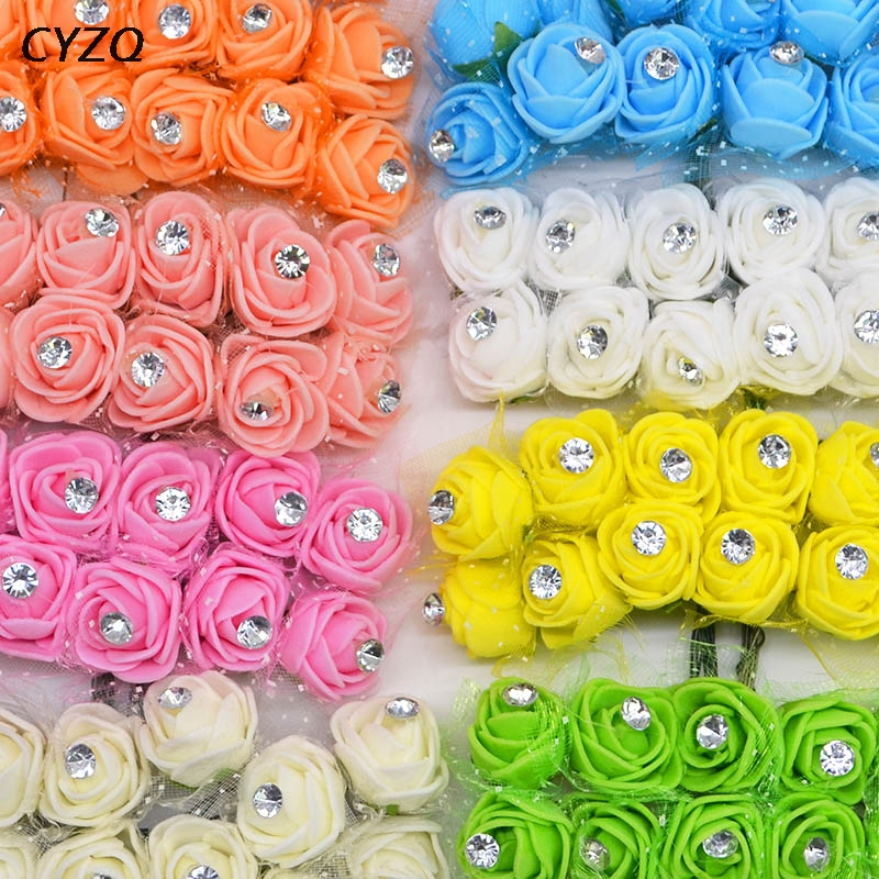 36/72/144pcs Mini PE Foam Rose Artificial Flower Heads Home Wedding Decoration DIY Wreath Gift Box Decorated Teddy Bears Flower
