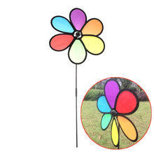1pc Garden Yard Color Randomly Outdoor Decor Classic Toys Colorful Rainbow Dazy Flower Spinner Wind Windmill(China)