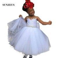 Puffy Ball Gown Flower Girls Dresses White Tulle Appliques Beaded Waist Tank Back Bow Lovely Wedding Child Dress Communion SF57
