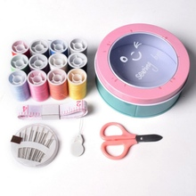 Portable Home Travel Sewing Kits Box Fabric Needle Threads Scissors Tool Accessories DIY Supplies Organizer