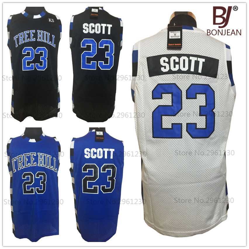 BONJEAN font b Mens b font One Tree Hill Movie Basketball Jerseys 23 Nathan Scott Jersey