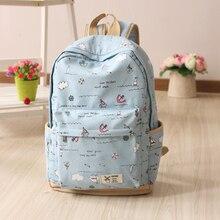 Печати холст рюкзак Южная Корея версия женские школьные сумки для девочек-подростков милые плюшевые ноутбук рюкзаки женские Bagpack