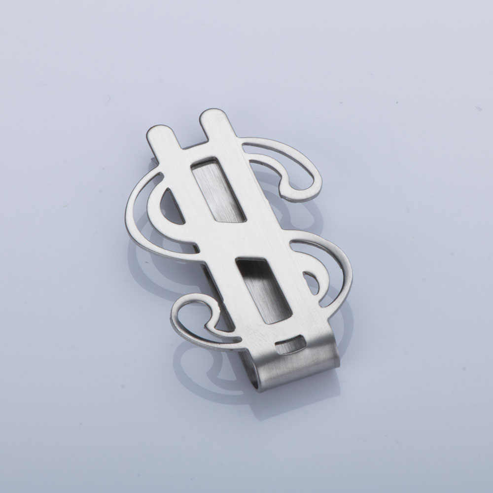 1 pc Creative Cool Money Clip Stainless Steel Dollar Design Money Holder Clip Smooth Dollar Sign Money Credit Card Clip Holder