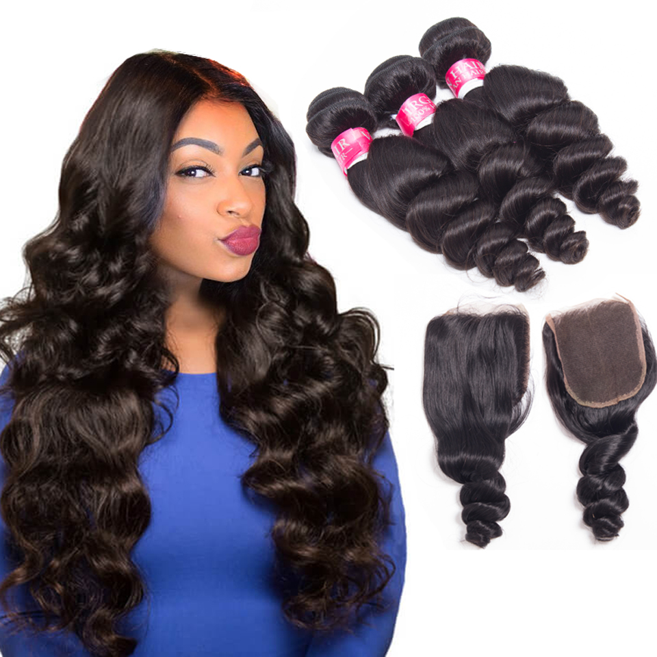 HTB1.WVtAL9TBuNjy0Fcq6zeiFXaB loose wave bundles with closure brazilian hair weave bundles with closure non remy wet and wavy human hair bundles with closure