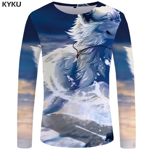 a5196ec33fe4 KYKU Wolf T shirt Men Long sleeve shirt Animal Cool New Hip hop Black Anime  Clothes Japan Mens Clothing Fashion Man Slim