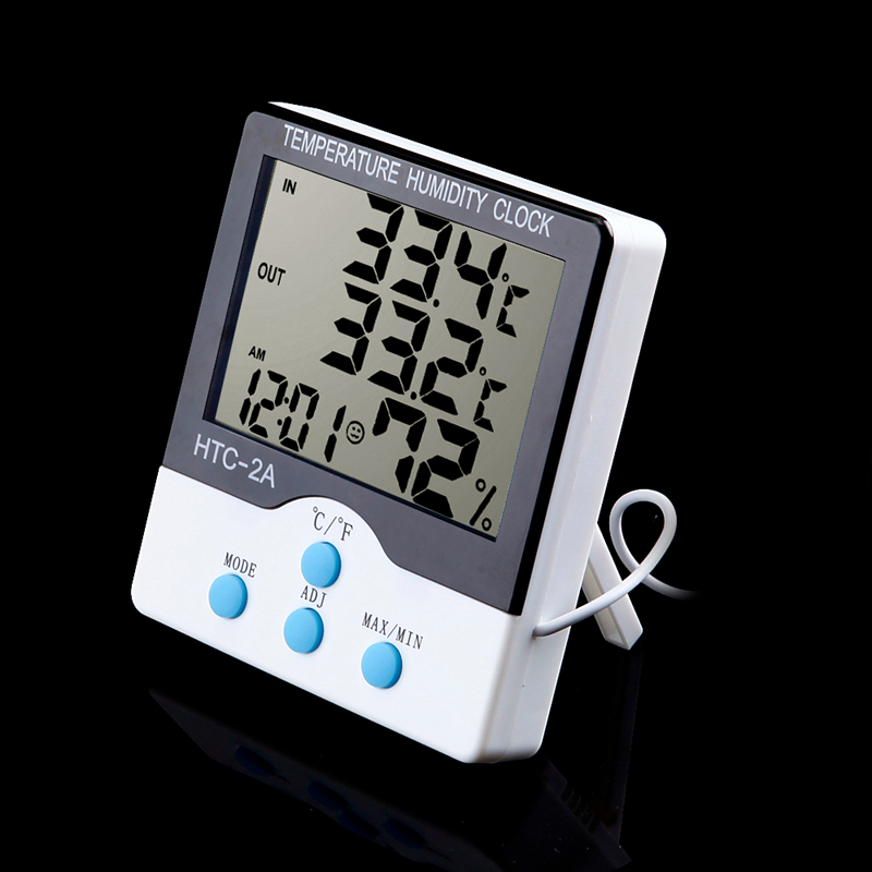 Big LCD Indoor Outdoor Digital Thermometer Hygrometer Temperature Humidity Meter With Clock HTC-2A C/F Switch 1.5M Cable Sensor