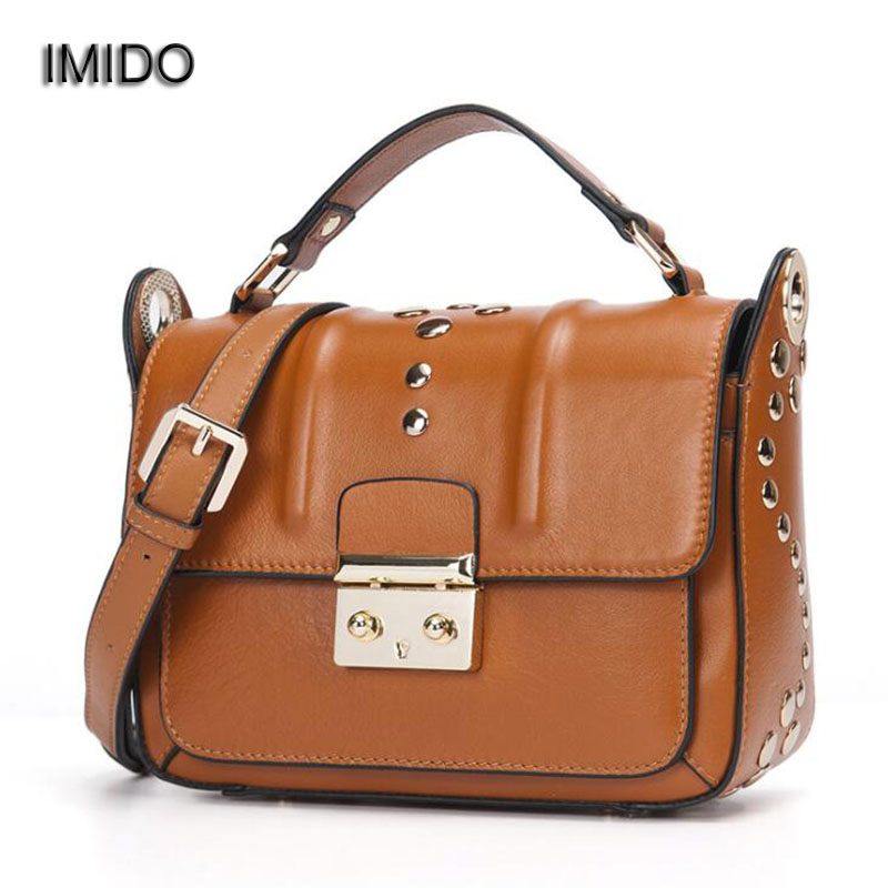 IMIDO Luxury brand Genuine Leather Handbag Women Bag Messenger Bags female Shoulder Bags Crossbody Cowhide bolsa feminina MG082 imido new fashion handbag pu leather bags women casual tote shoulder bag crossbody luxury brand bolsa feminina orange red hdg076