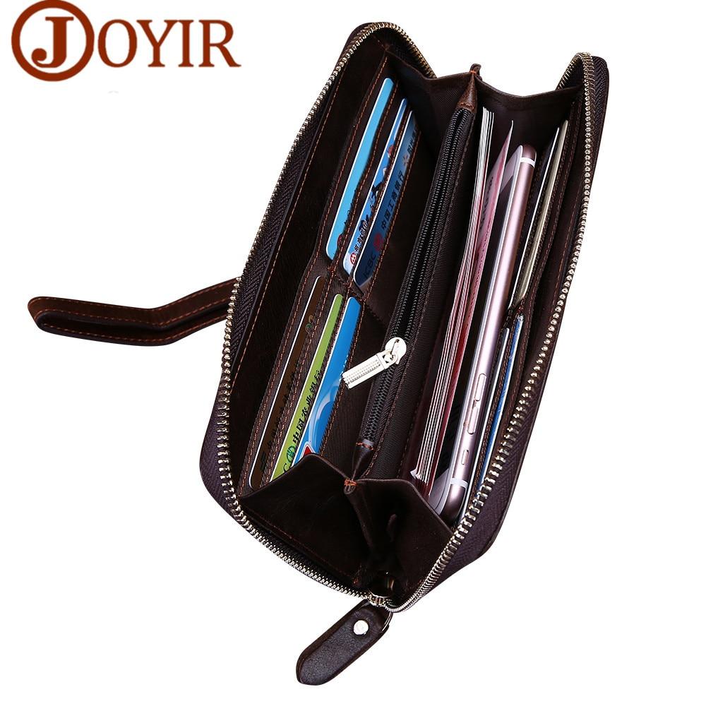 JOYIR Designer Brand Genuine Leather Men Wallets Zipper Business Male Wallet Purse Card Holder Long Clutch Wallets