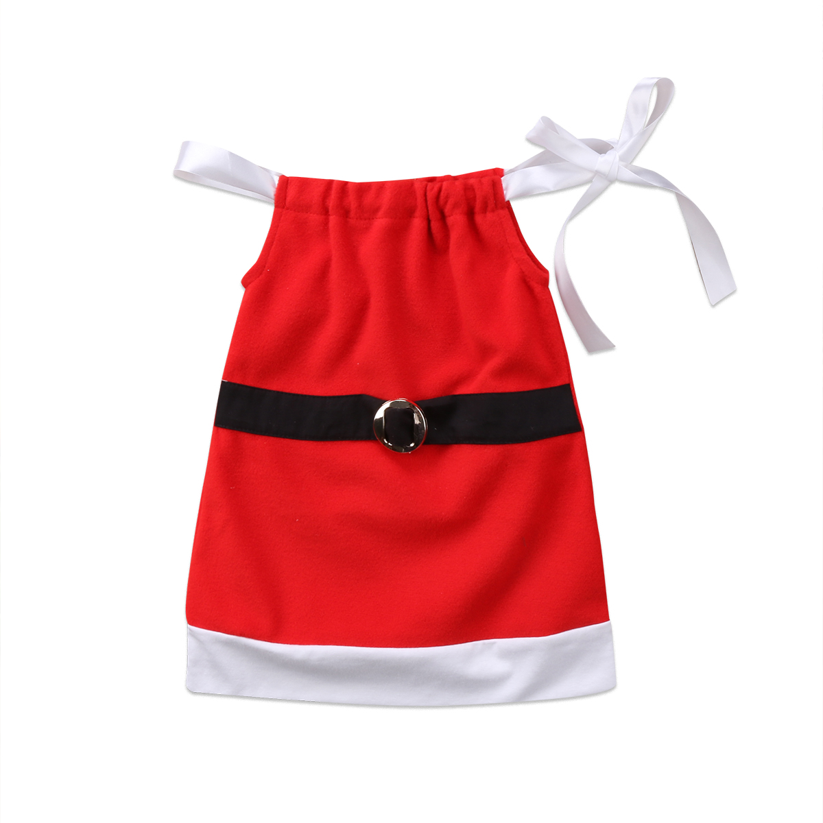 2017 New Christmas Toddler Girls Kids Fancy Santa Claus Strap Tops Sleeveless Bandage Party Red Dress Clothes