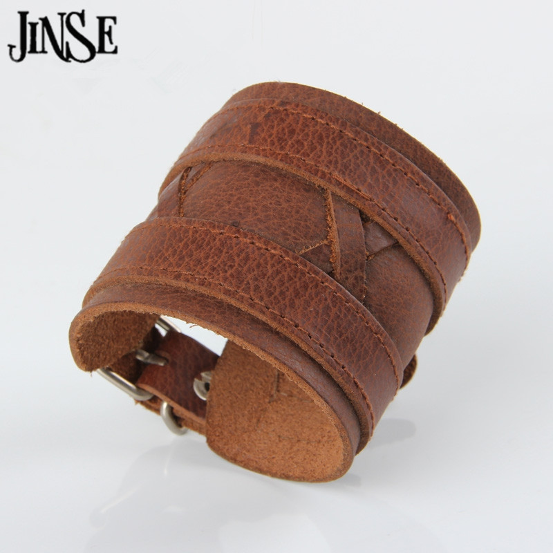 JINSE High Quality Real Leather Strap Brown Bracelet Double Wide Leather Cuff Bracelets For Men PSL098