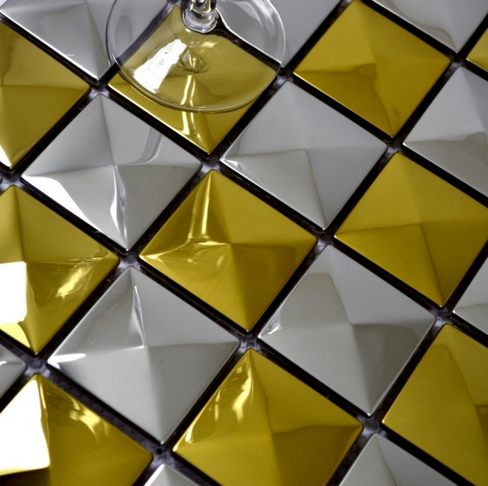 3D convex design pyramid pattern stainless steel metal mosaic tile ...