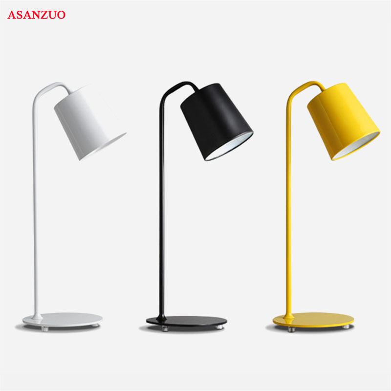 Modern Minimalist Black White Yellow Table Lamp Living