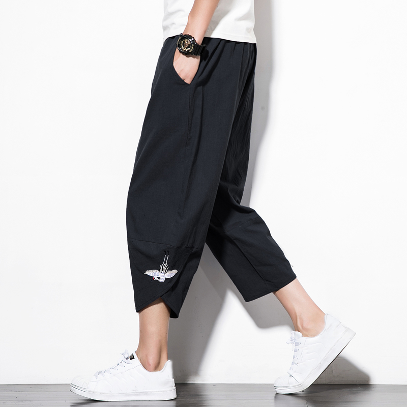 Male Trousers Track-Pants Cargo-Pocket Elastic-Waist Casual Joggers Harlan Thick Men