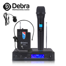 Debra Audio V3002 VHF Wireless with Handheld and Lavalier and Headset Microphone Mic System for Church, Wedding, Karaoke!!! takstar ts 331a vhf wireless microphone vhf wireless system for live performances conference musical and opera