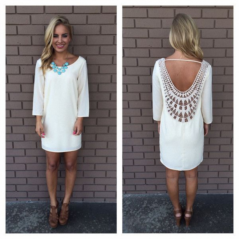 White Casual Women Lace Dress Three Quarter Sleeve Back