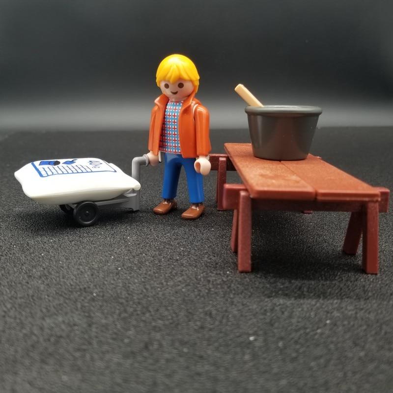 1 Set Playmobil Werknemers Carpenter Met Tafel Zandzak Auto Action Figures Kind Model Pop Bouwsteen Rollenspel Speelgoed X143 Exquise Vakmanschap;
