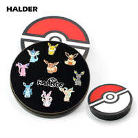 HALDER Anime Pocket Monsters Pokemon Eevee Family Cartoon Box Cosplay Enamel Brooches Lapel backpack bags Badge Pins Gift 9pcs