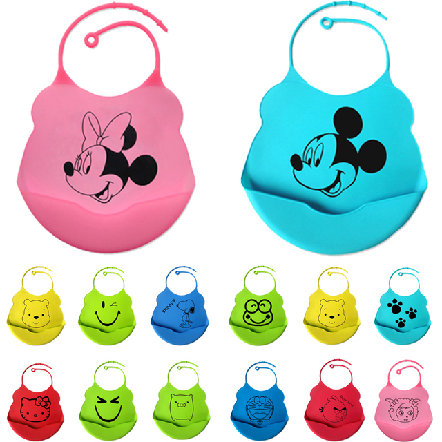 Baberos de bebé de nuevo diseño de 18 colores impermeables de silicona de alimentación de bebé saliva toalla recién nacido de dibujos animados delantales impermeables Baberos de bebé