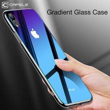 CAFELE Gradient Glass Case for iphone X Xr Xs Max TPU edge glass Back Protect Skin Ultra Thin Phone Cover for iphone X Xr Xs Max(China)