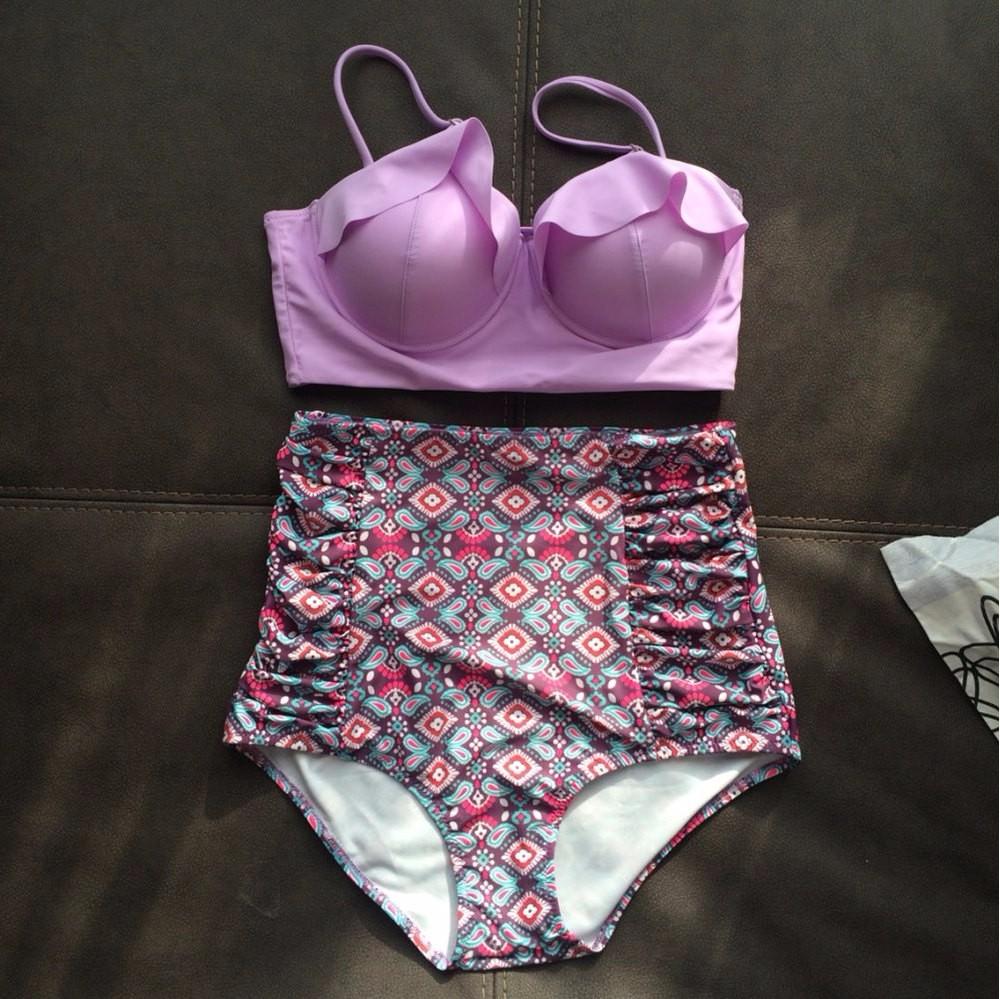 TQSKK 19 New Bikinis Women Swimsuit High Waist Bathing Suit Plus Size Swimwear Push Up Bikini Set Vintage Retro Beach Wear XXL 6
