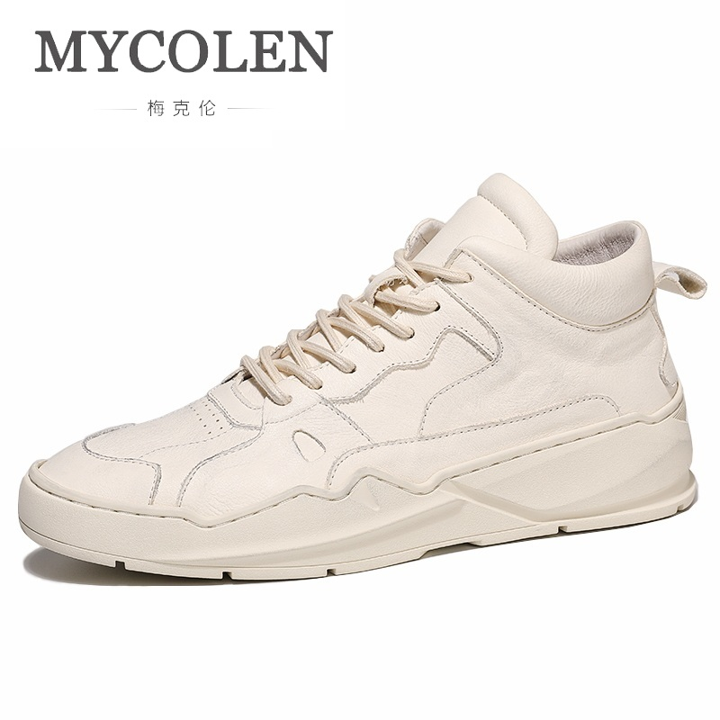 MYCOLEN Hot Sale Autumn And Winter New Fashion High-Top Shoes White Sneakers Men Shoes Leather Lace-Up Shoes Herenschoenen