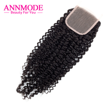 """Annmode brazilian kinky curly Lace Closure free Part """"4X4"""" Swiss Lace A Bundle Free Shippping remy Human Hair"""