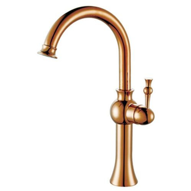 Bathroom Vanity Rose Gold Tall Basin Mixer Tap Faucet Spout Brass Single Handle