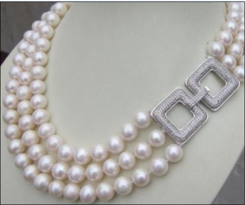 charming 20-22inch 3row AAA 10-11 MM south white pearl necklace charming 20-22inch 3row AAA 10-11 MM south white pearl necklace