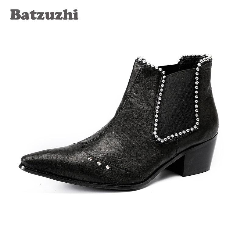 Batzuzhi Fashion Men Boots Ankle Black Leather Boots with Crystals Men's Party Dress Shoes Botas Hombre 6.5cm Heels, US12 EU46 все цены