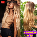 Wignee 22 Inch Skin Top Synthetic Hair Wig Ombre Golden Color Non Lace Wigs Heat Resistant Fashion Natural Wave Wig For Woman