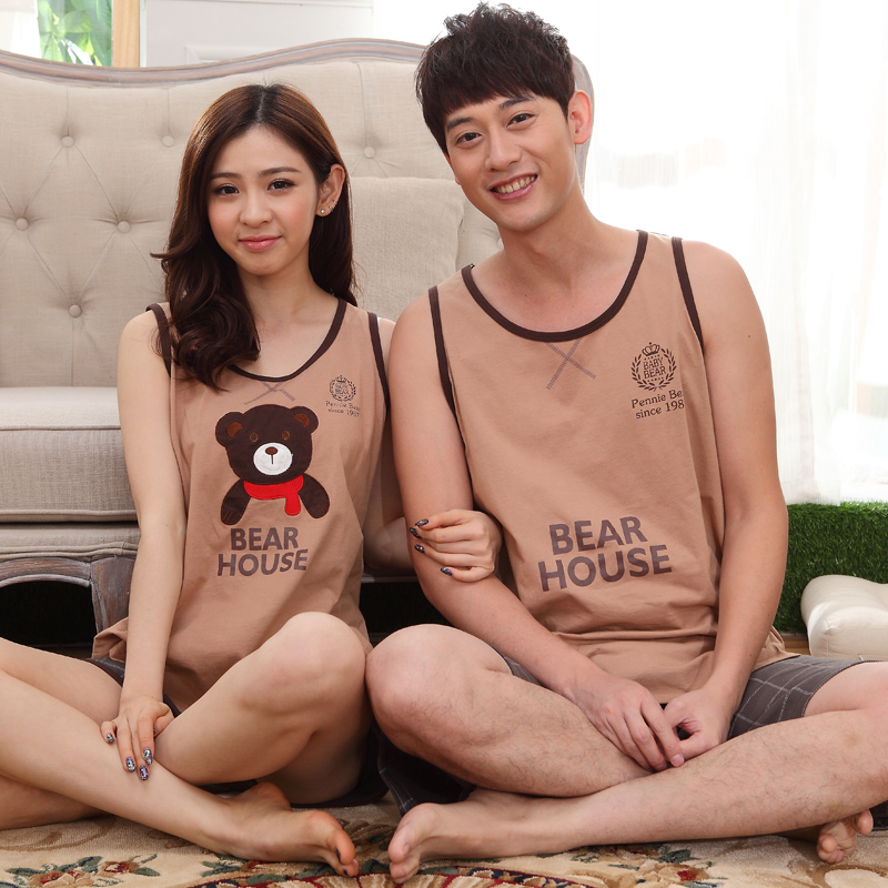 Women Vest   Pajamas     Sets   2017 Summer Lover's   Pajamas     Sets   For Women&men Casual Hot Sleepwear For Lovers Female Clothes