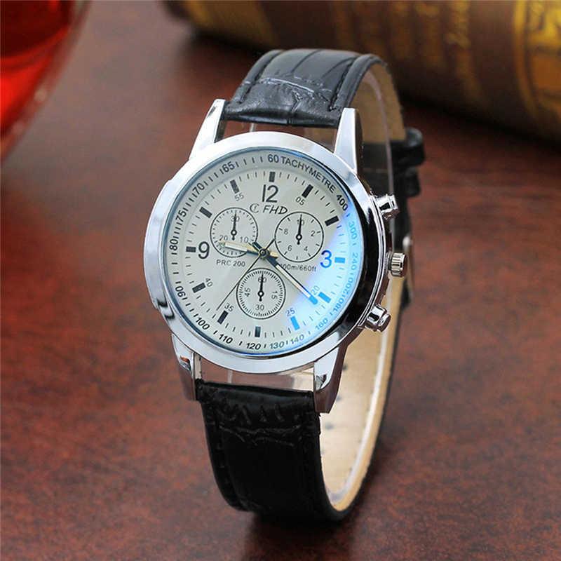 Blu Ray Glas Mannen Horloge Neutrale Quartz Simuleert Polshorloge Mens Fashion Luxe Heren Horloges Relogio Masculino 18Nov28