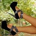 SHOFOO sapatos, os doces são frete grátis, vermelho (preto) de couro cashmere, pedras decorativas, 14.5 cm stiletto apontou bombas.