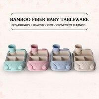 Baby Tableware Set 4 Pcs Bamboo Fiber Children's Tableware Set Car Styling Kids Feeding Suit Children Gift Dinnerware Set