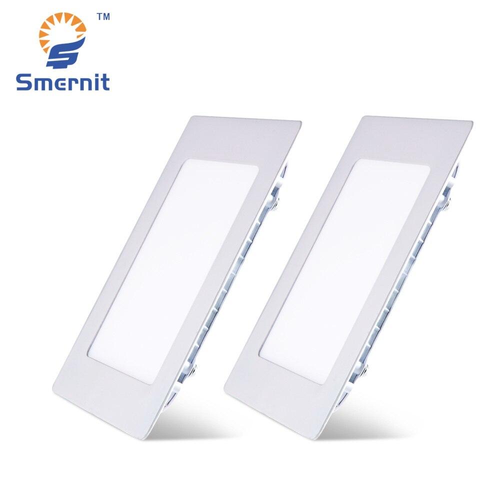 LED Panel Lights 3w 4w 6w 9w 12w 15w 18w 24w AC165-265V Ultra-thin Lamp Downlight Recessed Square Ceiling Light 220V Down Light ...