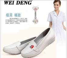 2015 Spring/autumn Office work shoes genuine leather women shoes Slip-on Ballet Flats Comfort Anti-skid white nurse Shoes H9011