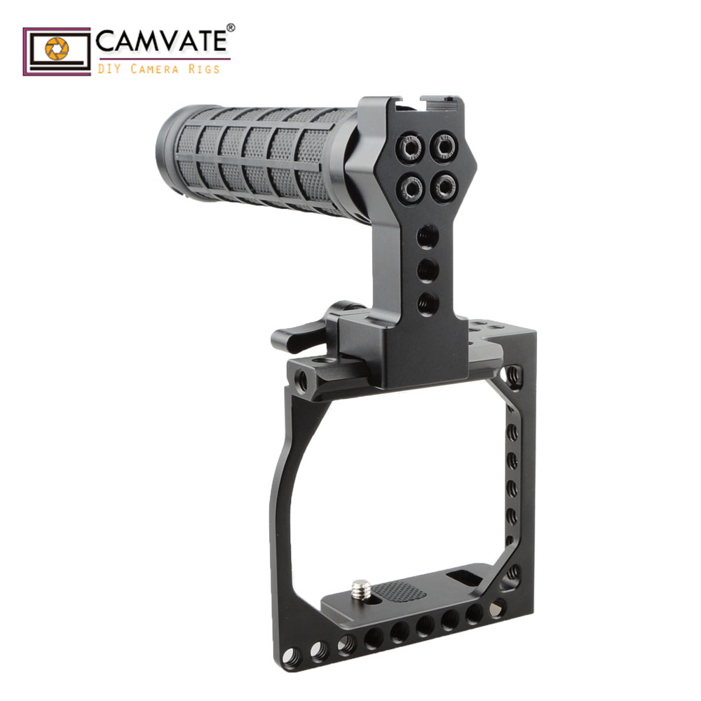 CAMVATE Bicycle Handlebar Leather Grips Double Lock Aluminum for DSLR Handle rig