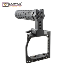 CAMVATE Small-sized DSLR Cage With Nato Top Handle For A6000 /A6300 /A6400/A6500 & Canon Eos M / M10 C1864 camvate top cheese handle thread screwed handle