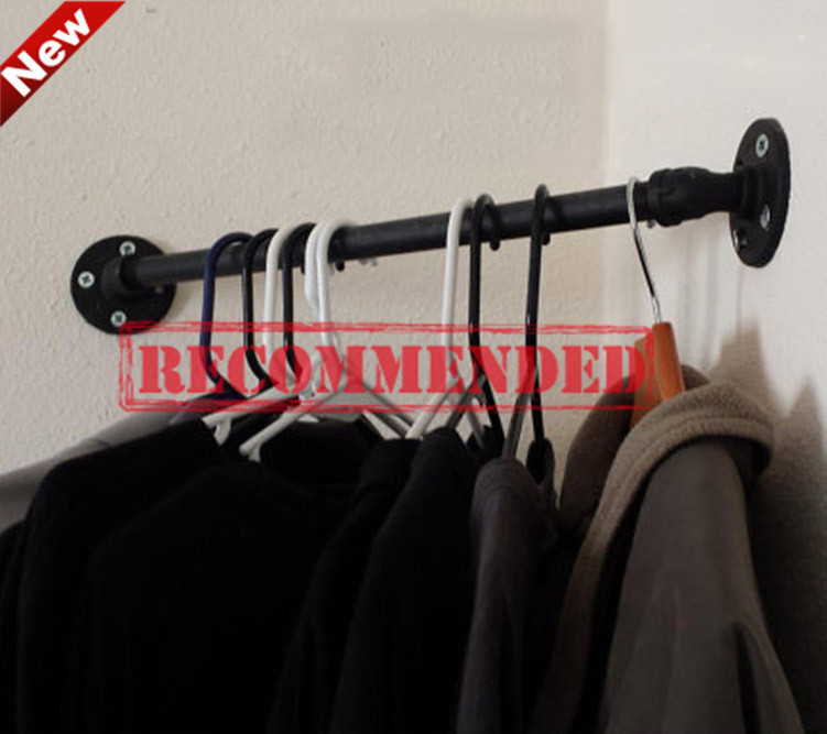Free Shipping Wall Hangers on the Wall Clothing Display American Retro Iron Pipe Coat Rack Clothing Store Shelf Hanging Rod-Z5 iron clothing display floor clothing rack clothing store shelf floor display rack shelf for men and women