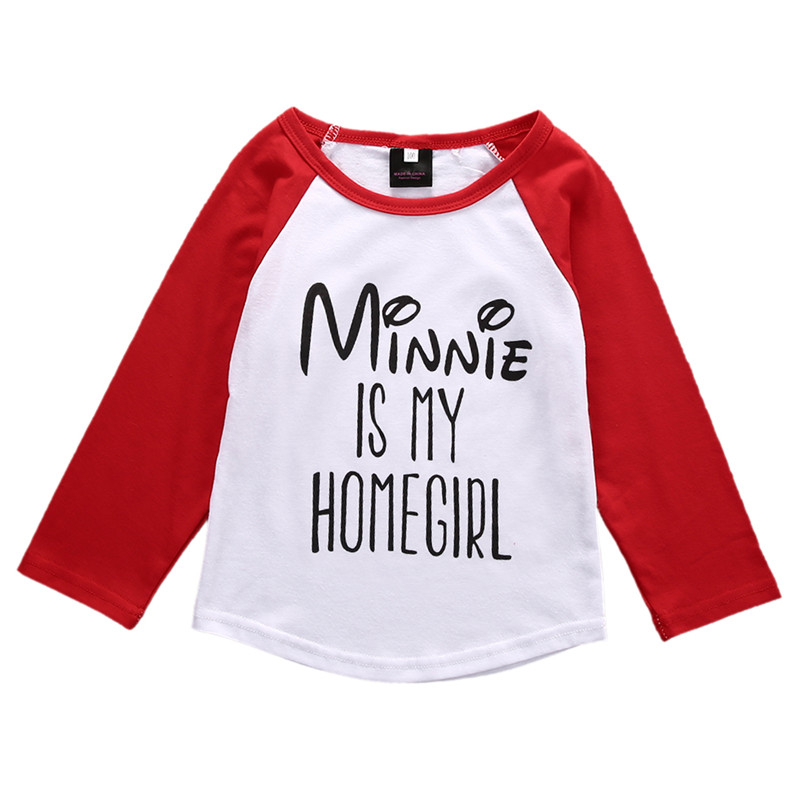 Minnie Is My Homegirl Baby Boy Girls Cotton T-Shirt Long Sleeve Spring Outfits Clothes Wear Lovely Baby Cartoon Tops