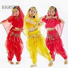 Magsdans kostym kläder slitage barn dans barn barn present indisk dans 1pcs-5pcs Top & Kjol & Headband & Veil, 3 färger.