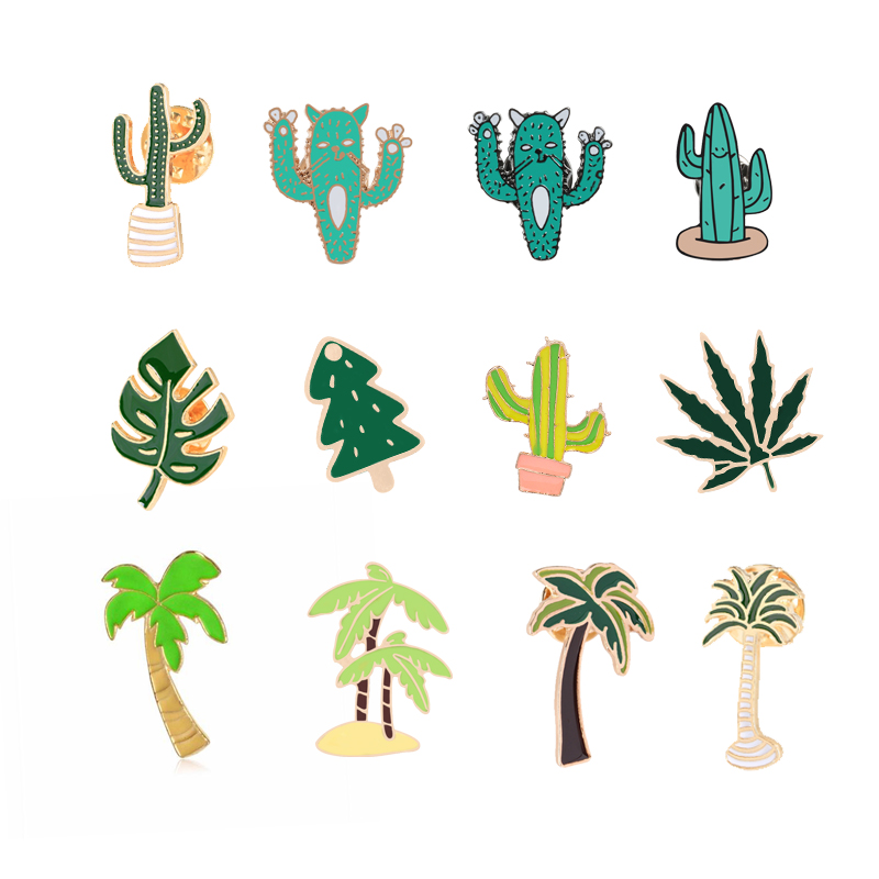 12 Style Cartoon Jackets Sweater Bag Pins Green Plant Tree Cactus Leaf Brooch Pin Metal Badge Couple Accessories Gift Wholesale