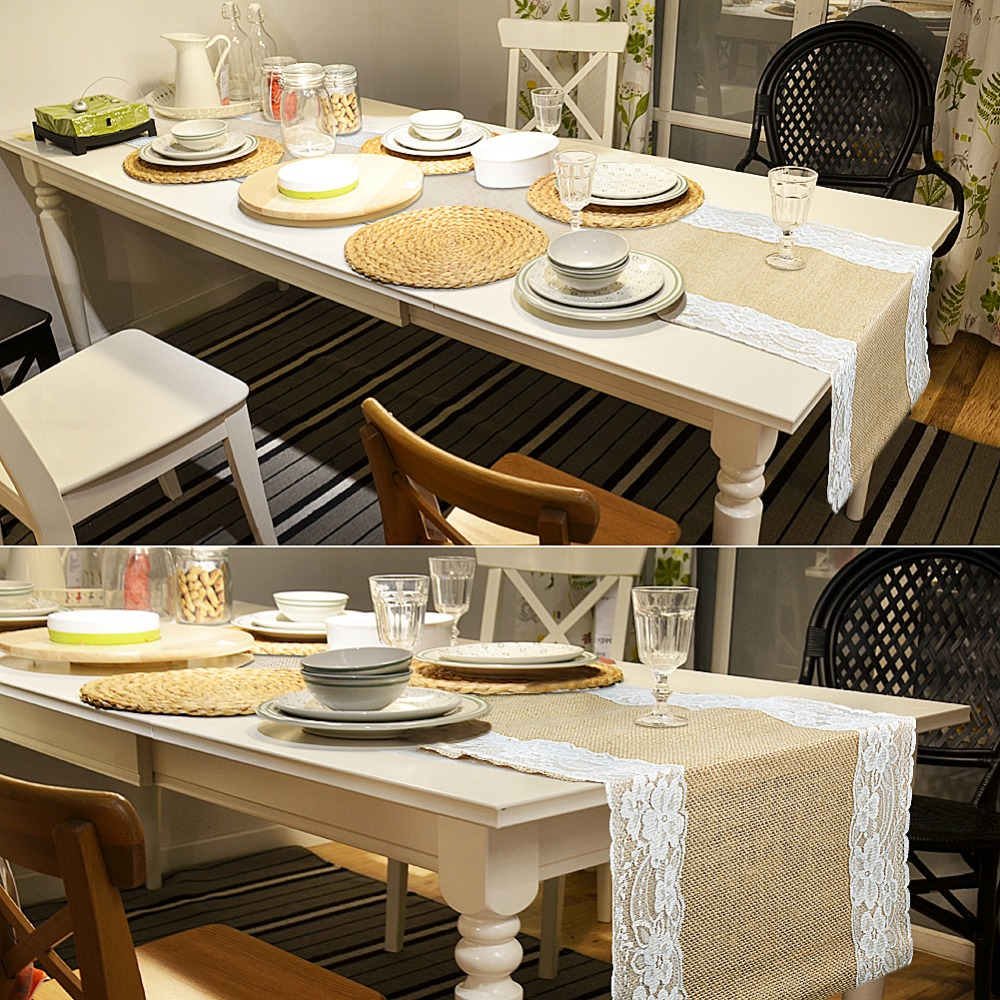 Vintage Table Runners for Wedding Decoration Burlap Lace Table ...