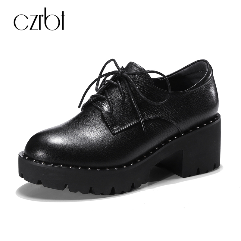 CZRBT Genuine Leather Height Increasing Shoes Women Fashion Platform Shoes Lace-Up Round Toe Flat Shoes Cow Leather Casual Flats qmn women genuine leather platform flats women brushed leather height increasing brogue shoes woman square toe creepers 34 42