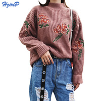 HziriP Turtleneck Knitted Pullover Sweater Women Flowers Embroidery Soft Warm Jumper Pull Femme Autumn Winter Clothes