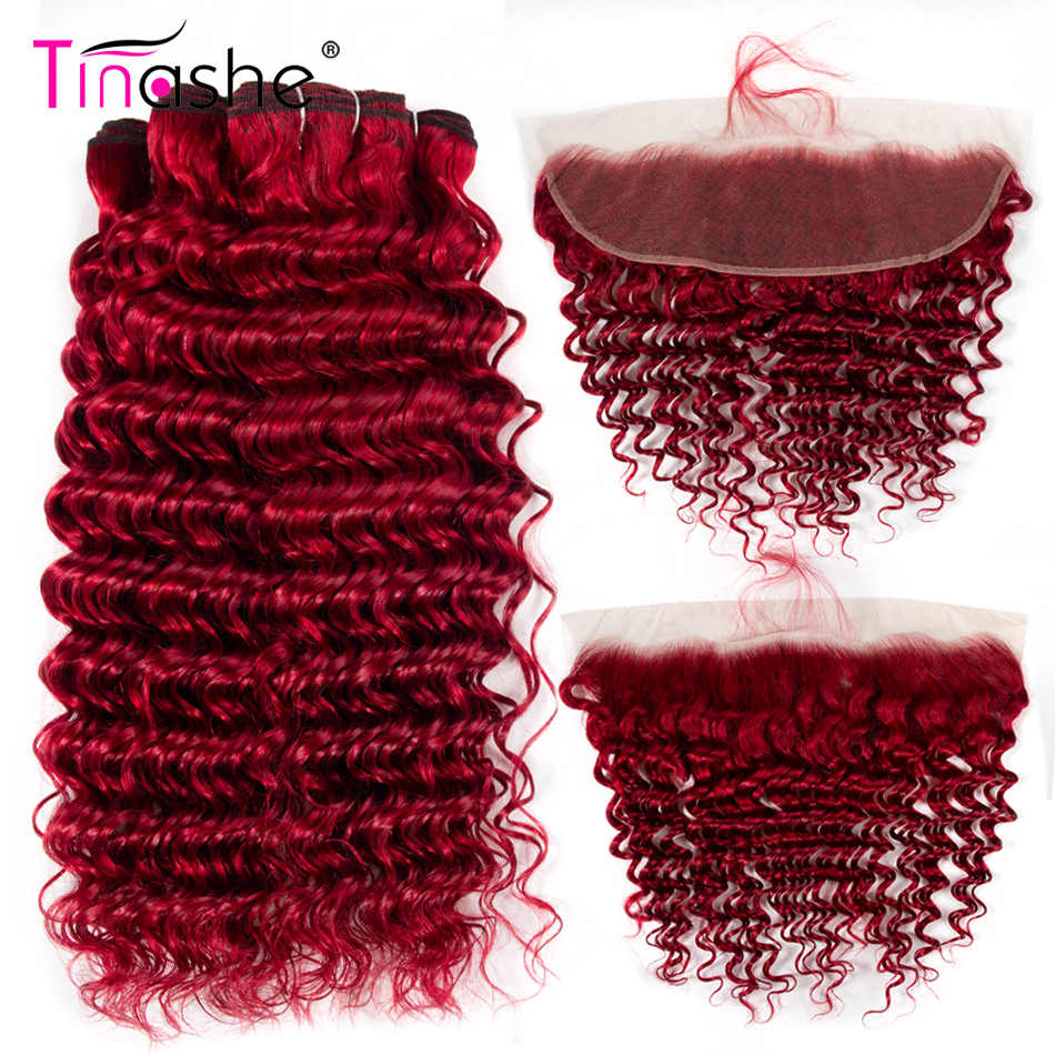 Tinashe Hair Red Bundles With Closure Deep Wave Bundles With Frontal Remy Brazilian Human Hair Burgundy 3 Bundles With Closure
