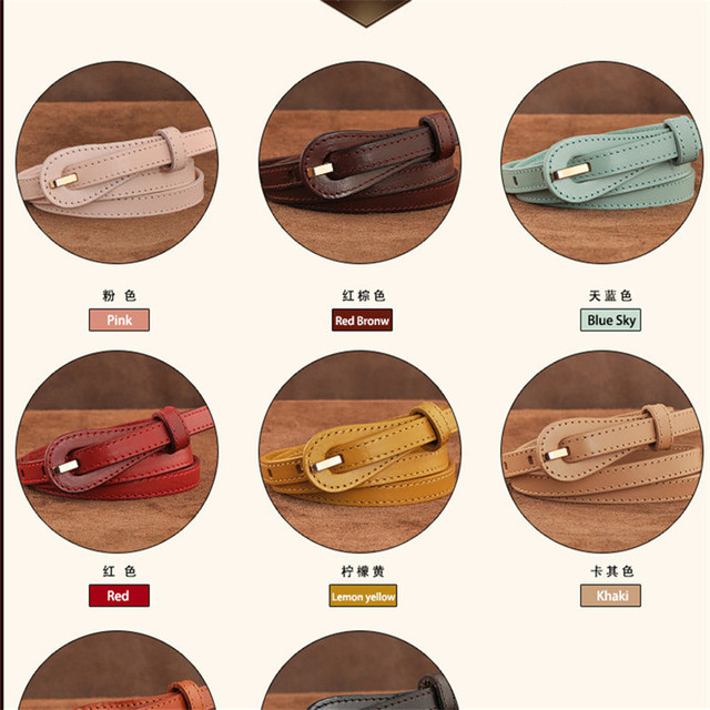 2017 Pin Belts for women Cowskin Leather Body Length 105CM Width 1CM Ladies fashion brand designer high quality Candy Lovely