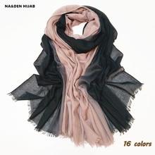 2019 القطن أومبير الحجاب وشاح هامش لينة النساء وشاح شالات و الأوشحة الإسلامي أنيقة اللون الظل مريح عالية الجودة 16 اللون