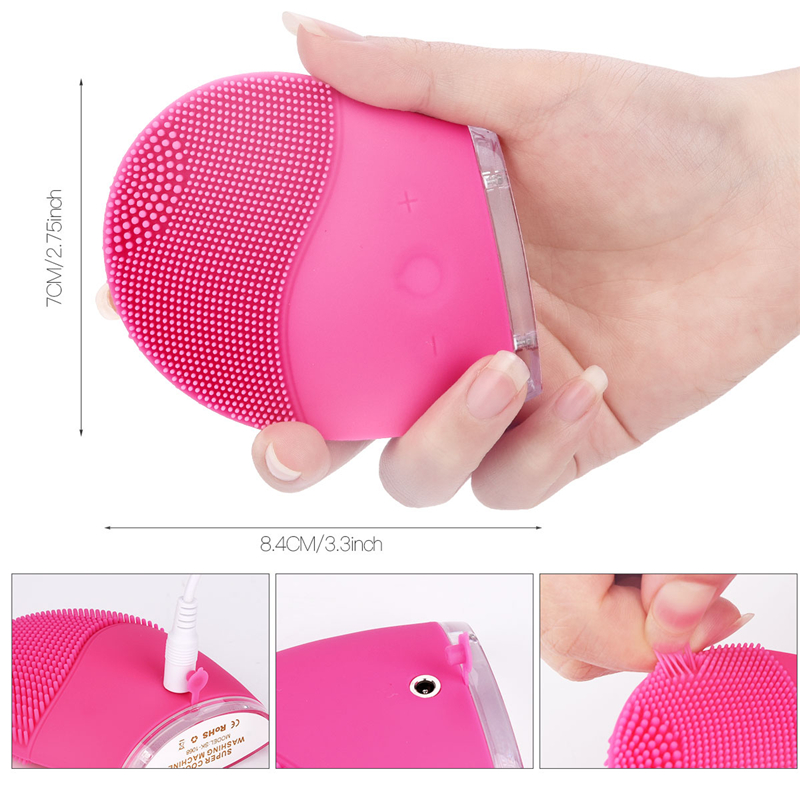 Image 5 - Electric Sonic Face Brush Silicone Facial Cleansing Brushes Skin Care Scrubbing Acne Blackhead Remover Pore Cleaner Massager 38-in Face Skin Care Tools from Beauty & Health